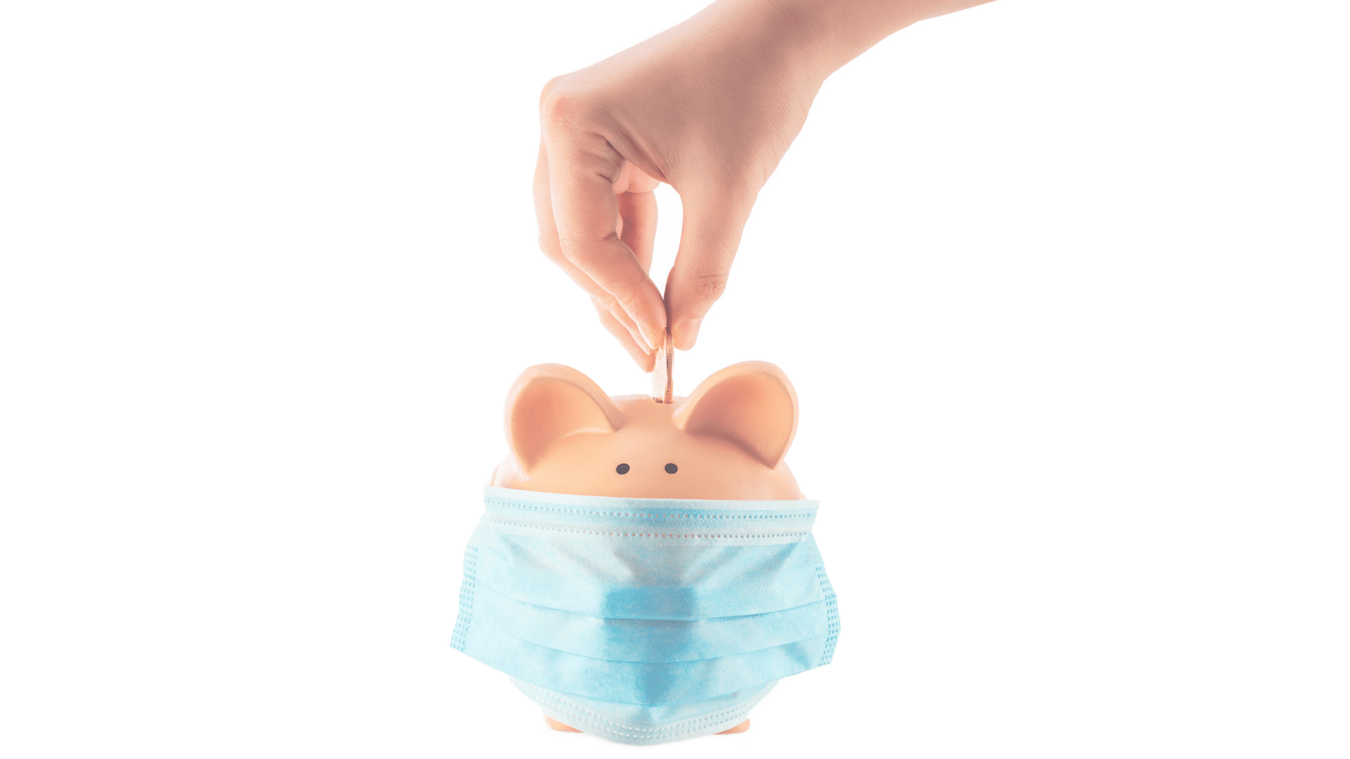 piggy bank with mask over mouth for health and safety while person places coin in bank