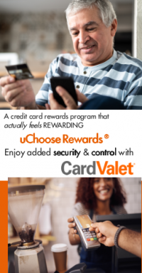 man smiling looking at credit card smiling and woman conducting sale transaction with credit card. Advertisement for BTFCU MasterCard